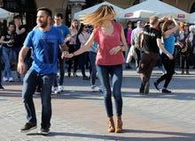 International Flashmob Day of Rueda de Casino, 57 countries, 160 cities. Several hundred persons dance Hispanic rhythms on the Mai Royalty Free Stock Photo