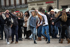 The international Flashmob day of rueda de Casino. CRACOW, POLAND - MARCH 28, 2015:  the international Flashmob day of rueda de Casino,57 countries , 160 cities Stock Photography