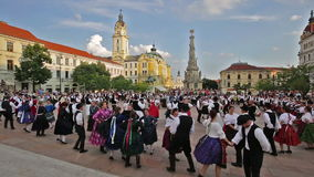 International Folklore Festival on August 16, 2016 in Hungary, Pecs city. Many participants dancing in the main square of Pecs city stock video footage