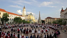 International Folklore Festival. On August 16, 2016 in Hungary, Pecs city, Many participants dancing in the main square of Pecs city stock video footage