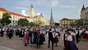 International Folklore Festival. On August 16, 2016 in Hungary, Pecs city, Many participants dancing in the main square of Pecs city stock video