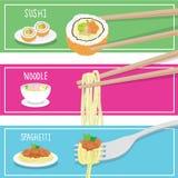 International Food Sushi Noodle Spaghetti cartoon vector Stock Photography
