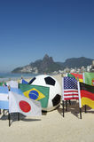 International Football Country Flags Soccer Ball Rio de Janeiro Brazil Stock Image
