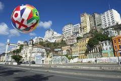 International Football Soccer Ball Salvador Bahia Brazil Skyline Royalty Free Stock Images