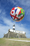 International Football Soccer Ball Salvador Lighthouse Stock Image