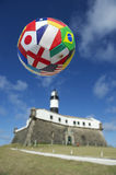 International Football Soccer Ball Salvador Lighthouse Stock Images