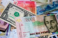International Foreign Currencies. Foreign Currency closeup of money International currencies Stock Image