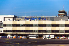 International Frankfurt Airport, the busiest airport in Germany on blue winter sky background Stock Photo