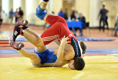 International freestyle wrestling tournament Victory Day in St. Petersburg, Russia. St. Petersburg, Russia - May 6, 2015: Amandyk Bakeyev of Kazakhstan against Royalty Free Stock Photos