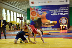 International freestyle wrestling tournament Victory Day in St. Petersburg, Russia Stock Image