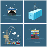 International Freight Transportation, Cargo Icons Stock Photos