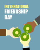 International Friends Day. Friends drinking beer. Top View Clink. Of beer bottles. Vector illustration for International holiday Stock Images