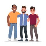 International friendship. African american, caucasian man and As. Ian together hugging. Vector illustration in cartoon style royalty free illustration