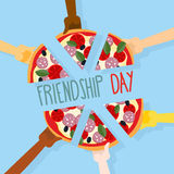 International friendship day. 30 July. Pizza pieces for friends. People eat pizza together. Vector illustration vector illustration