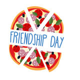 International friendship day. Pizza pieces for friends. Vector i. Llustration stock illustration