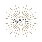 International Girls Day. 8 th March. International Girls Day. Alternate title. Trendy handwritten calligraphy composition with linear starburst. Vector template royalty free illustration