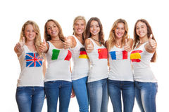 International girls with flags on t shirts Stock Photography