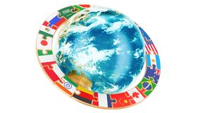 International global communication concept with rotating Earth Globe, 3D rendering