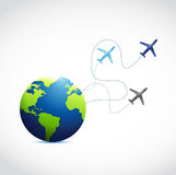 International globe and airplane routes Royalty Free Stock Photography