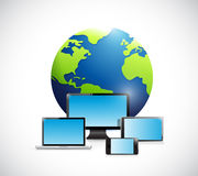 International globe and electronics. Royalty Free Stock Photography