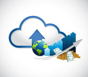 international globe graph and cloud computing Stock Image