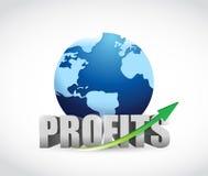 International globe profits illustration design. Over a white background Royalty Free Stock Photo