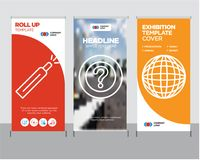 International globe, Question mark, Battery level roll up. International globe modern business roll up banner design template, Question mark creative poster Stock Images