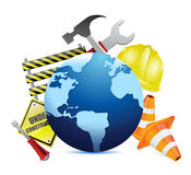 International globe under construction Royalty Free Stock Photos