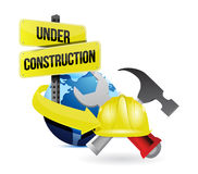 International globe under construction sign Royalty Free Stock Photography