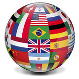 International globe. World globe formed by international flags stock photography