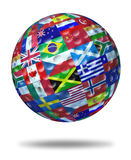 International golf. Tournament champion symbol represented by a golf ball with the flags of the world countries showing the concept of global golfing sports Royalty Free Stock Photo