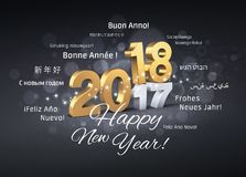 International Greetings 2018. Gold 2018 New Year typescript above 2017 and greetings in multiple languages, on a festive black background - 3D illustration Stock Photos