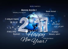 International Greetings 2017. 2017 New Year type composed with a blue planet earth, surrounded by greeting words in multiple languages - 3D illustration vector illustration