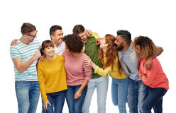 International group of happy laughing people. Diversity, race, ethnicity and people concept - international group of happy men and women laughing over white Royalty Free Stock Photo