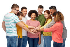 International group of happy people holding hands Stock Photography