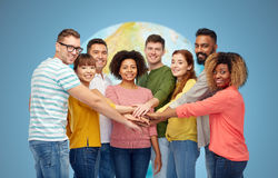 International group of happy people holding hands Stock Images