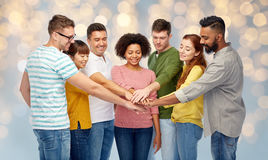 International group of happy people holding hands Royalty Free Stock Photos