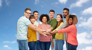 International group of happy people holding hands Royalty Free Stock Photography