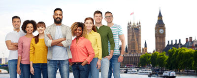 International group of happy people in london Royalty Free Stock Photos