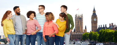 International group of happy people in london Stock Photo