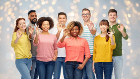 International group of happy people showing ok Stock Photography