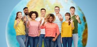 International group of happy people showing ok Stock Photo