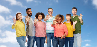 International group of happy people waving hand Stock Photo