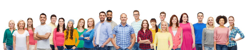 International group of happy smiling people. Diversity, race, ethnicity and people concept - international group of happy smiling men and women over white Stock Photography