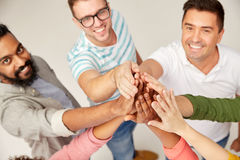 International group of people making high five Stock Photography