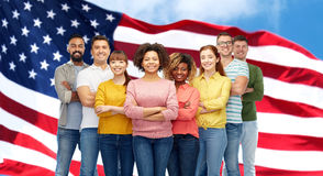 International group of people over american flag Stock Images