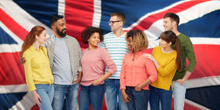 International group of people over british flag Stock Photo