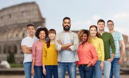 International group of people over coliseum Stock Photo