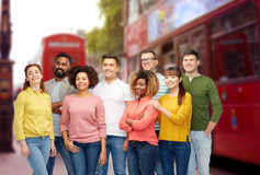 International group of people over london city Royalty Free Stock Image