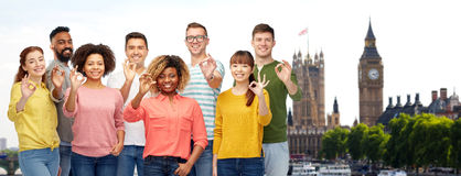 International group of people showing ok in london Royalty Free Stock Photos